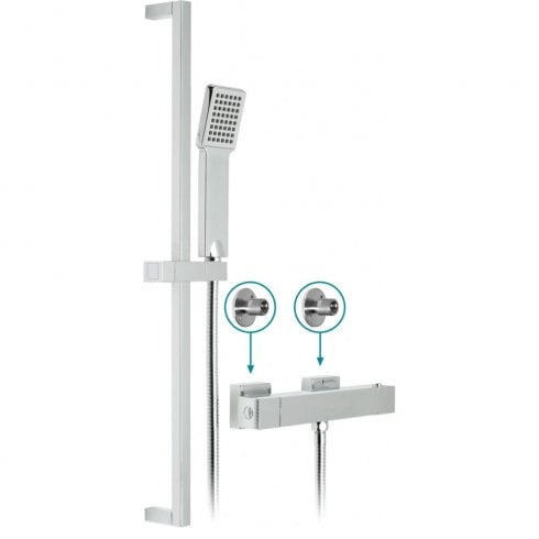 Vado té Exposed Thermostatic Shower Valve with kit & brackets  (WG-TEBOX149/B-1/2-CP)